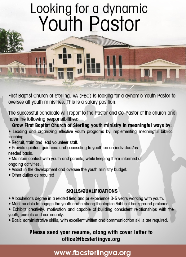 events looking for a youth pastor