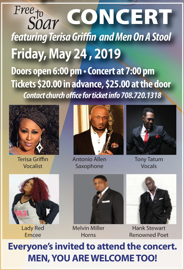 Free to Soar Concert May 24, 2019 ft Terisa Griffin and Men On a Stool