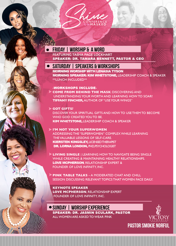 victory cathedral worship center shine womens conference 2019 lineup