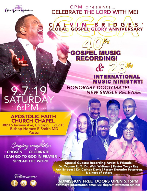 Calvin Bridges Global Gospel Glory Anniversary September 2019