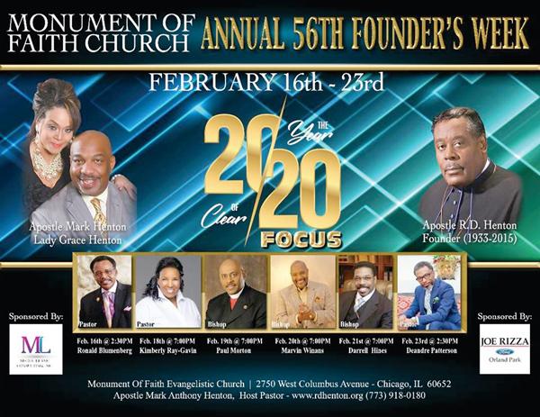 Monument of Faith Church Founders Week 2020